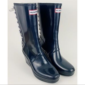 Hunter Verbier Lace Up Wedge Rain Boots 9 Navy